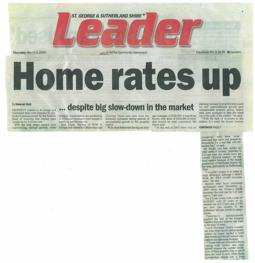 Home loan Rates Up The Leader March 3rd 2005