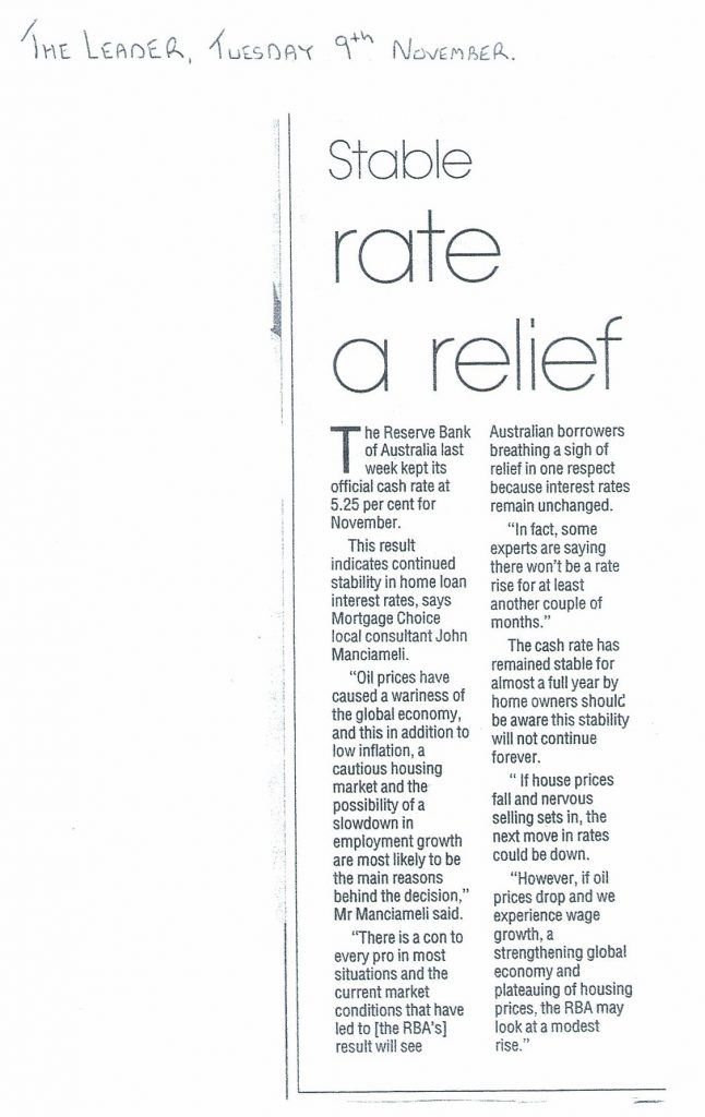 The Leader Tuesday 9th November Stable Rate Relief